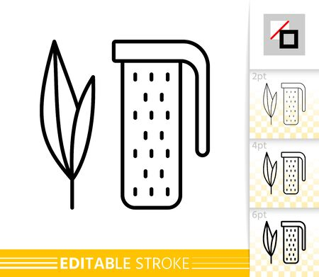Tea Infuser thin line icon. Leaf banner in flat style. Plant poster. Linear pictogram. Simple illustration, outline symbol. Vector sign isolated on white. Editable stroke icons without fill Çizim