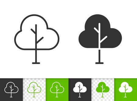 Geometric Tree black linear and silhouette icons. Thin line sign of sapling. Oak outline pictogram isolated on white, green, transparent background. Vector Icon shape. Abstract Plant simple symbol Illustration