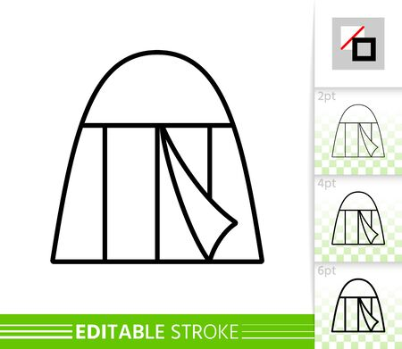 Camp thin line icon. Tent banner in flat style. Summer Awning poster. Camping rest Linear pictogram. Simple illustration, outline symbol. Vector sign on white. Editable stroke icons without fill