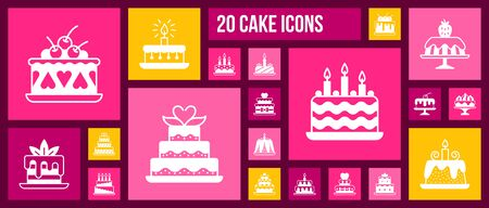 Cake silhouette icons set. Isolated web sign kit of dessert. Sweet Food pictogram collection includes birthday, homemade baking, candle decoration. Simple white contour symbol. Pie vector Icon shape Ilustrace