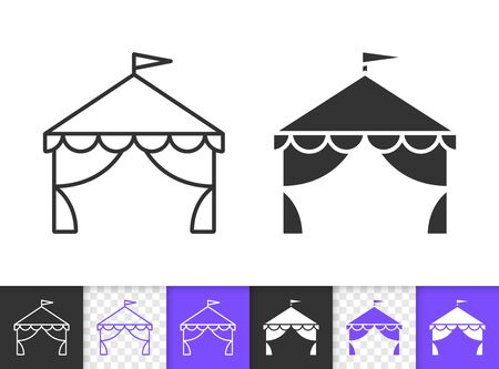 Zirkuszelt schwarze lineare und Silhouettensymbole. Dünne Linie Zeichen des Karnevals. Ereignisumrisspiktogramm lokalisiert auf Weiß, Farbe, transparentem Hintergrund. Vektorsymbolform. Festzelt einfaches Symbol Nahaufnahme