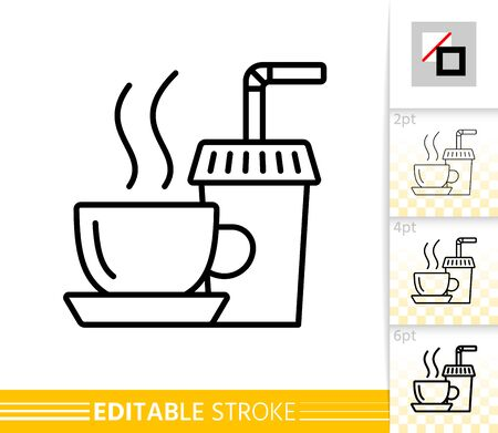 Tea thin line icon. Coffee banner in flat style. Paper Cup poster. Beverage Linear pictogram. Simple illustration, outline symbol. Vector sign isolated on white. Editable stroke icons without fill