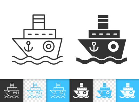 Ship black linear and silhouette icons. Thin line sign of boat. Sea Cruise outline pictogram isolated on white, color, transparent background. Vector Icon shape. Nautical simple symbol closeup