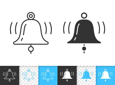 Bell black linear and silhouette icons. Thin line sign of ringing. Notification outline pictogram isolated on white, color, transparent background. Vector Icon shape. Alarm simple symbol closeup