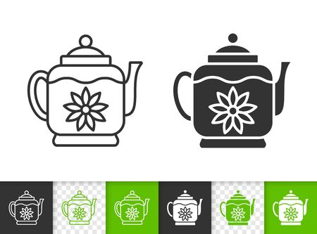 Teapot black linear and silhouette icons. Thin line sign of tea making. Glass Kitchenware outline pictogram isolated on white, transparent background. Vector Icon shape. Kettle simple symbol closeup