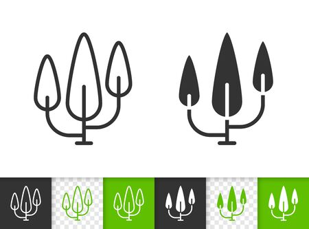 Cypress black linear and silhouette icons. Thin line sign of poplar. Geometric Tree outline pictogram isolated on white, transparent background. Vector Icon shape. Conifer tree simple symbol closeup Ilustração