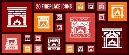 Fireplace silhouette icons set. Isolated sign kit of christmas time. Open Fire pictograms of warm home, living room, cosy house. Simple white contour symbol. Vintage interior Icon. Vector Illustration