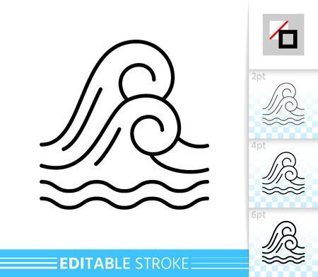 Wave thin line icon. Sea banner in flat style. Water poster. Ocean Linear pictogram. Marine Simple illustration, outline symbol. Vector sign isolated on white. Editable stroke icons without fill Standard-Bild - 128738712