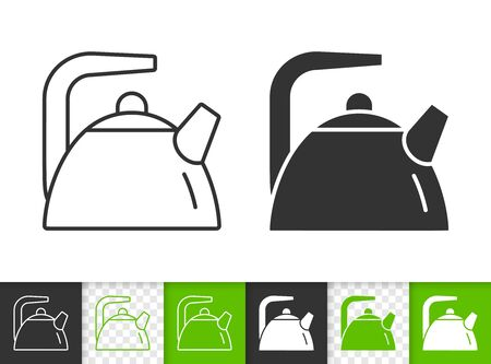 Teapot black linear and silhouette icons. Thin line sign of kettle. Tea outline pictogram isolated on white, color, transparent background. Vector Icon shape. Kitchenware simple symbol closeup