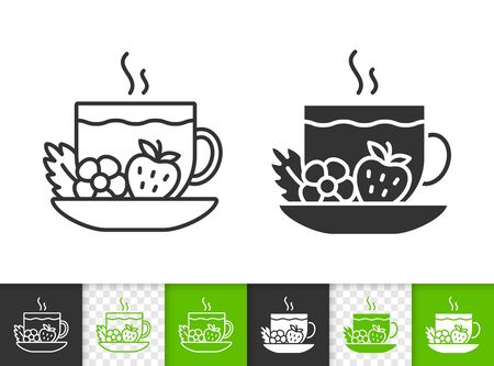 Tea black linear and silhouette icons. Thin line sign of cup. Fruit outline pictogram isolated on white, color, transparent background. Vector Icon shape. Strawberry beverage simple symbol closeup