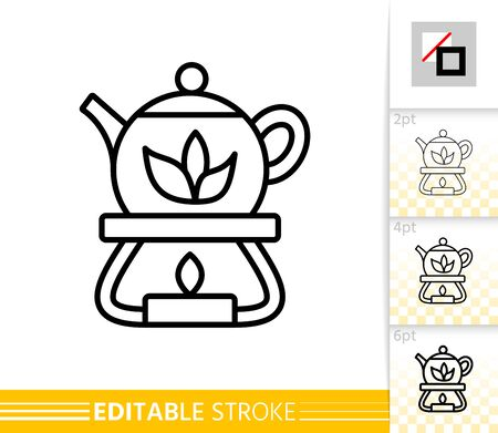 Glass Teapot thin line icon. Heated Tea banner in flat style. Candle poster. Linear pictogram. Simple illustration, outline symbol. Vector sign isolated on white. Editable stroke icons without fill
