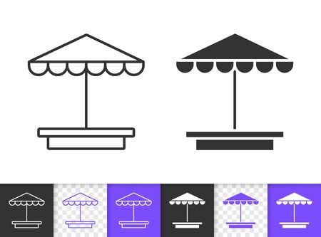 Sandbox black linear and silhouette icons. Thin line sign of umbrella. Beach Parasol outline pictogram isolated on white, transparent background. Vector Icon shape. Sunshade simple symbol closeup