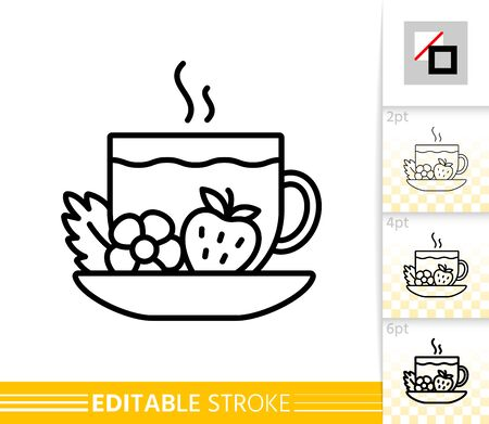 Strawberry Tea thin line icon. Cup banner in flat style. Fruit poster. Linear pictogram. Simple illustration, outline symbol. Vector sign isolated on white. Editable stroke icons without fill