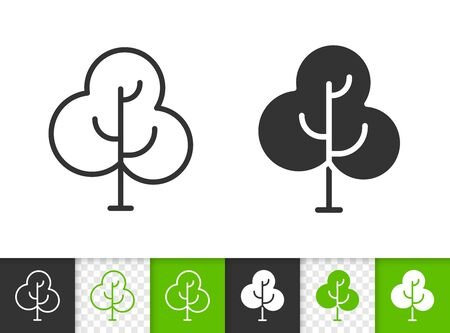 Geometric Tree black linear and silhouette icons. Thin line sign of sapling. Birch outline pictogram isolated on white, green, transparent background. Vector Icon shape. Abstract Plant simple symbol Illustration