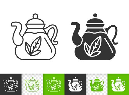 Teapot black linear and silhouette icons. Thin line sign of tea making. Glass Kitchenware outline pictogram isolated on white, transparent background. Vector Icon shape. Teapot simple symbol closeup