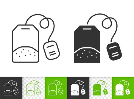 Tea Bag black linear and silhouette icons. Thin line sign of label. Green outline pictogram isolated on white, color, transparent background. Vector Icon shape. Tea Bag simple symbol closeup