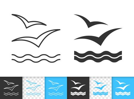 Wave black linear and silhouette icons. Thin line sign of seagull. Sea outline pictogram isolated on white, color, transparent background. Vector Icon shape. Marine simple symbol closeup Standard-Bild - 128738725