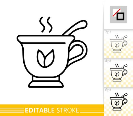 Tea thin line icon. Cup with Spoon banner in flat style. Mug poster. Teacup Linear pictogram. Simple illustration, outline symbol. Vector sign isolated on white. Editable stroke icons without fill