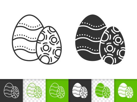 Easter black linear and silhouette icons. Thin line sign of decorated chocolate egg. Spring outline pictogram isolated on white, transparent background. Vector Icon shape. Candy simple symbol closeup