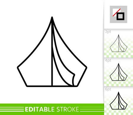 Camp thin line icon. Tent banner in flat style. Summer Awning poster. Camping rest Linear pictogram. Simple illustration, outline symbol. Vector sign on white. Editable stroke icons without fill 写真素材 - 128738728