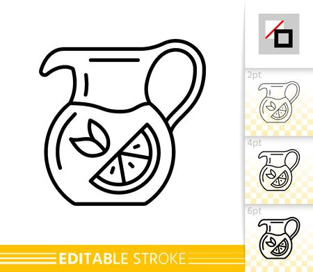 Jug thin line icon. Pitcher banner in flat style. Tea poster. Linear pictogram. Simple illustration, outline symbol. Vector sign isolated on white. lemonade Editable stroke icons without fill