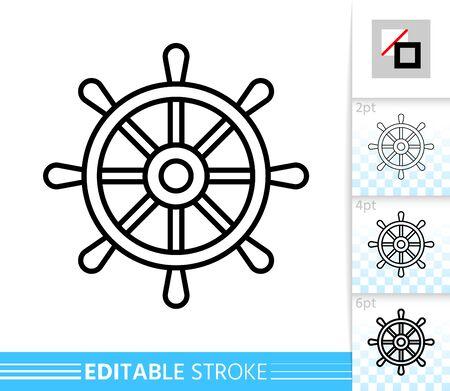 Icône de fine ligne de roue. Expédier la bannière dans un style plat. Affiche de barre. Pictogramme linéaire nautique. Illustration simple, symbole de contour. Signe de vecteur isolé sur blanc. Icônes de trait modifiables sans remplissage