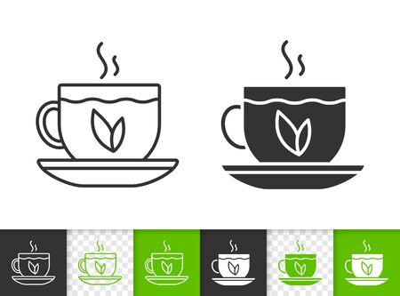 Tea black linear and silhouette icons. Thin line sign of cup. Teacup outline pictogram isolated on white, color, transparent background. Hot drink vector Icon shape. Glass mug simple symbol closeup
