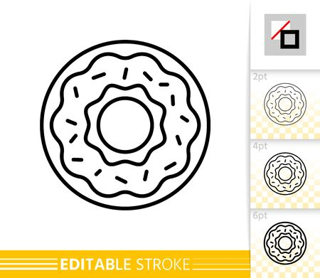 Doughnut thin line icon. Donut banner in flat style. Cake poster. Linear pictogram. Simple illustration, outline symbol. Vector sign isolated on white. Dessert Editable stroke icons without fill