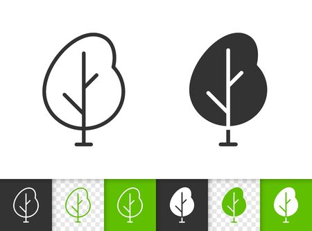 Geometric Tree black linear and silhouette icons. Thin line sign of sapling. Poplar outline pictogram isolated on white, green, transparent background. Vector Icon shape. Abstract Plant simple symbol