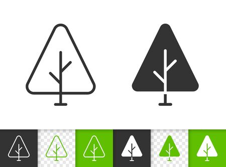 Geometric Tree black linear and silhouette icons. Thin line sign of sapling. Fir outline pictogram isolated on white, green, transparent background. Vector Icon shape. Abstract Plant simple symbol