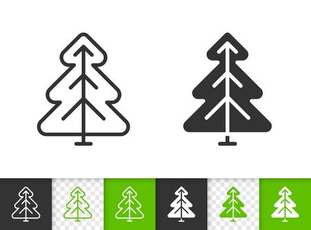 Christmas Tree black linear and silhouette icons. Thin line sign of conifer. Spruce outline pictogram isolated on white, color, transparent background. Vector Icon shape. Fir simple symbol closeup