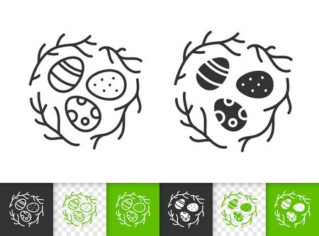 Easter black linear and silhouette icons. Thin line sign of chocolate egg. Cute Nest outline pictogram isolated on white, transparent background. Vector Icon shape. Spring time simple symbol closeup