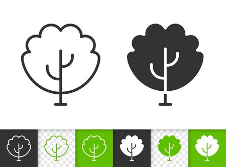 Geometric Tree black linear and silhouette icons. Thin line sign of sapling. Maple outline pictogram isolated on white, green, transparent background. Vector Icon shape. Abstract Plant simple symbol