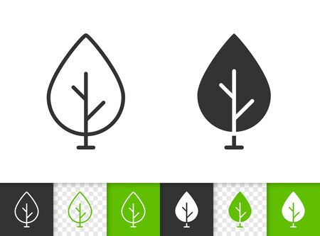 Geometric Tree black linear and silhouette icons. Thin line sign of sapling. Birch outline pictogram isolated on white, green, transparent background. Vector Icon shape. Abstract Plant simple symbol Stock Illustratie