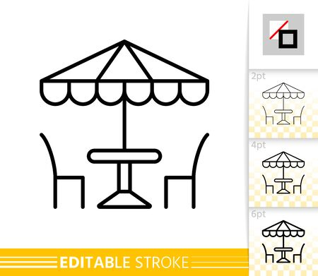 Street Cafe thin line icon. Umbrella banner in flat style. Summer restaurant table and chair poster. Linear pictogram. Simple Vector illustration, outline symbol. Editable stroke icons without fill