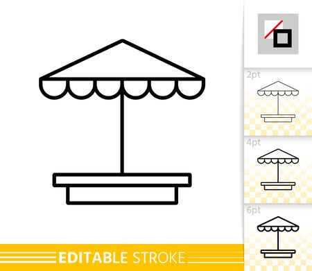Sandbox thin line icon. Umbrella banner in flat style. Beach Parasol poster. Sunshade Linear pictogram. Simple illustration, outline symbol. Vector sign on white. Editable stroke icons without fill