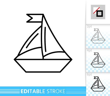 Sailing Ship thin line icon. Boat banner in flat style. Yacht poster. Linear pictogram. Simple illustration, outline symbol. Vector sign isolated on white. Editable stroke icons without fill Illustration