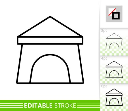 Camp thin line icon. Tent banner in flat style. Summer Awning poster. Camping rest Linear pictogram. Simple illustration, outline symbol. Vector sign on white. Editable stroke icons without fill 写真素材 - 128739005