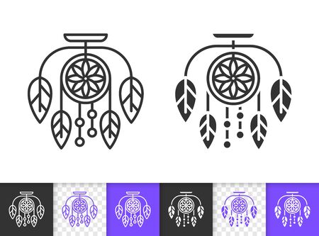 Dream Catcher black linear and silhouette icons. Thin line sign of dreamcatcher. Insomnia outline pictogram isolated on white, transparent background. Vector Icon shape. Amulet simple symbol closeup