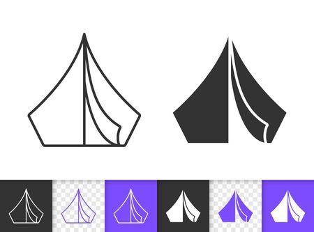 Camp black linear and silhouette icons. Thin line sign of tent. Summer Awning outline pictogram isolated on white, color, transparent background. Vector Icon shape. Camping simple symbol closeup