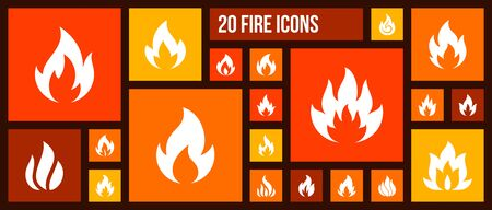 Fire silhouette icons set. Isolated web sign kit of bonfire. Flame monochrome pictogram collection includes danger, warning, burning fireplace. Simple white contour symbol. Fire vector Icon shape Stock Vector - 128739089