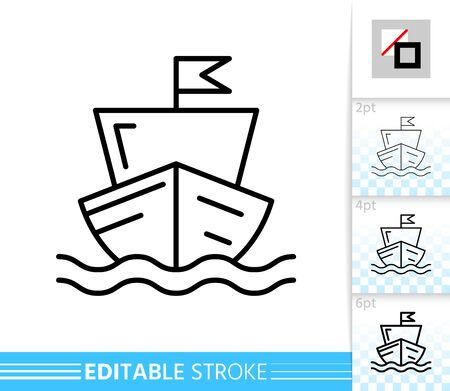 Sailing Ship thin line icon. Boat banner in flat style. Yacht poster. Nautical Linear pictogram. Simple illustration, outline symbol. Vector sign isolated on white. Editable stroke icons without fill Stock Illustratie