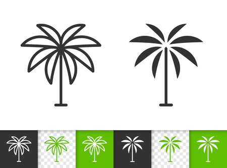 Geometric Tree black linear and silhouette icons. Thin line sign of date palm. Coconut outline pictogram isolated on transparent background. Vector Icon shape. Tropical Tree simple symbol closeup