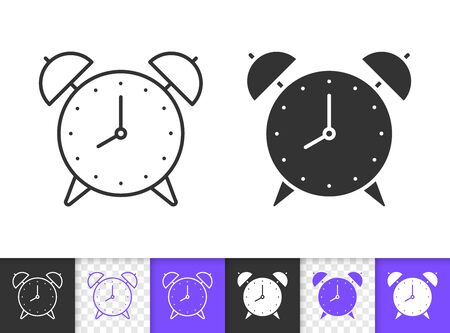 Alarm Clock black linear and silhouette icons. Thin line sign of time. Watch outline pictogram isolated on white, transparent background. Deadline Vector Icon shape. Timer simple symbol closeup Stock Illustratie