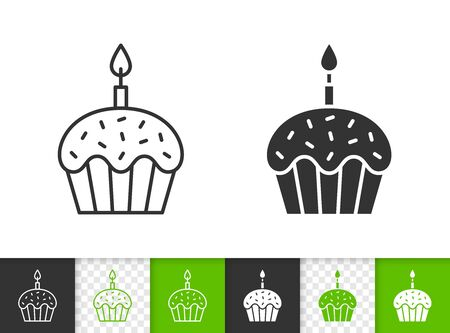 Easter cake with candle black linear and silhouette icons. Thin line sign of bakery. Food outline pictogram isolated on white, transparent background. Vector Icon shape. Dessert simple symbol closeup