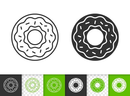 Doughnut black linear and silhouette icons. Thin line sign of donut. Cake outline pictogram isolated on white, color, transparent background. Vector Icon shape. Dessert simple symbol closeup Illustration
