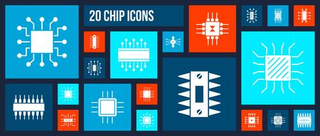 Microchip silhouette icons set. Isolated web sign kit of cpu. Microprocessor pictograms includes pc micro processor, abstract circuit. Simple white contour symbol. Computer chip vector Icon shape Stock Illustratie