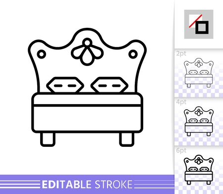 Bed thin line icon. Hotel banner in flat style. Bedroom poster. Linear pictogram. Simple illustration, outline symbol. Vector sign isolated on white. Editable stroke icons without fill Stock Illustratie