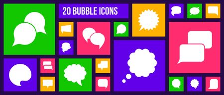 Speech Bubble silhouette icons set. Isolated web sign kit of comic tell. Chat pictograms of rectangle frame, double cloud, dialog template. Simple white contour symbol. Button vector Icon shape Stock Illustratie