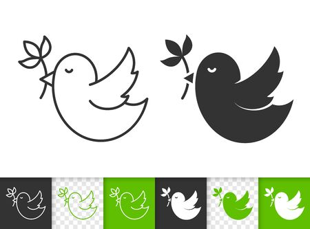 Bird with branch black linear and silhouette icons. Thin line sign of spring. Flower outline pictogram isolated on white, green, transparent background. Vector Icon shape. Dove simple symbol closeup 向量圖像